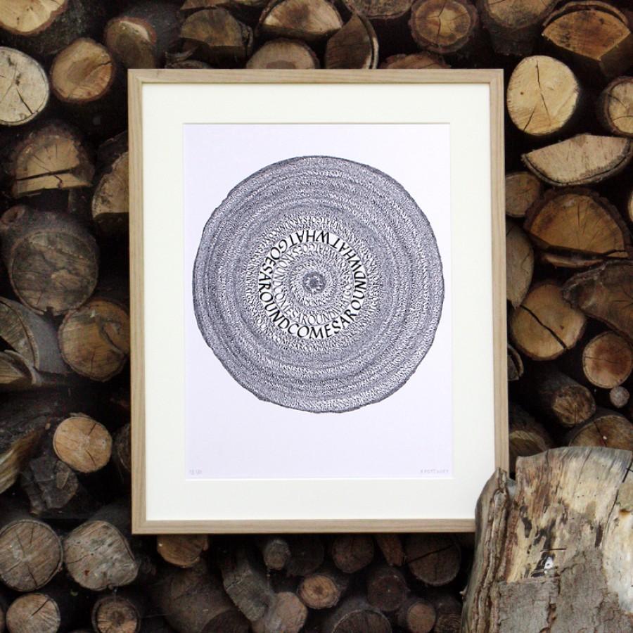 """Kalligrafie - """"What goes around ..."""" – limitierter Kunstdruck 30 x 40 cm"""